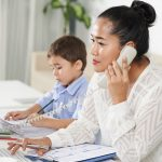 Mom calling teacher from home