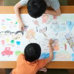 Children illustrating what they want to do outside